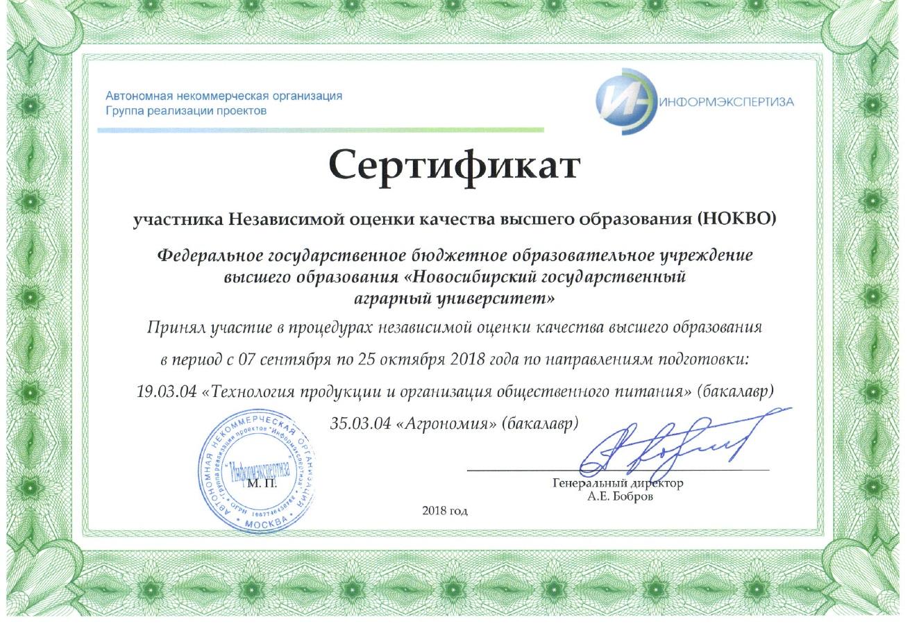Сертификат участника Независимой оценки качества образования