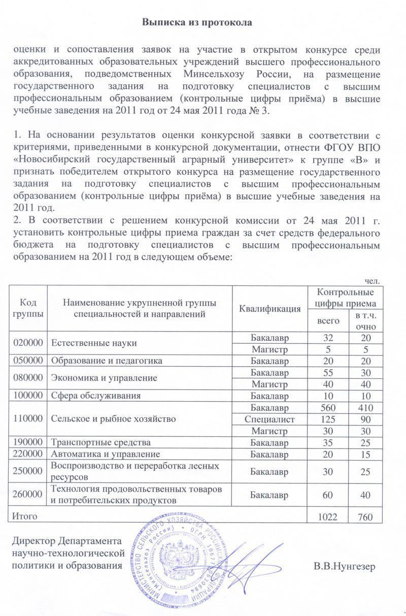 НГАУ Абитуриенту Архив абитуриента Контрольные цифры приёма  Контрольные цифры приёма на 2011 год