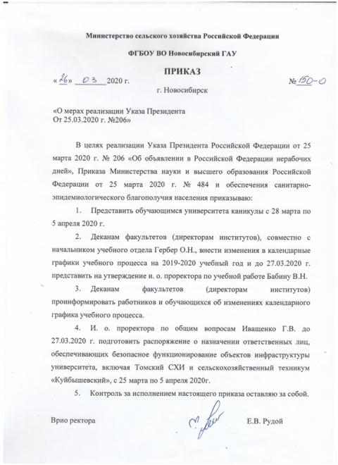 Информация о мерах реализации Указа Президента От 25.03.2020 г. №206.